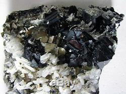 Cubic Fine Pyrite, Black Sphalerite & Quartz Perú Master Piece Animon Mine