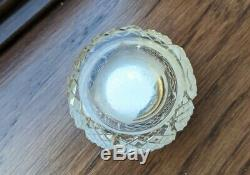 Cut Crystal Mirrored Powder or Patch Box with Hand-Painted Portrait of Woman