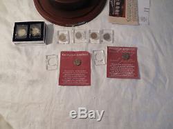 Danbury mint US Buffalo nickels crystal collection display piece NIB with8 nickels