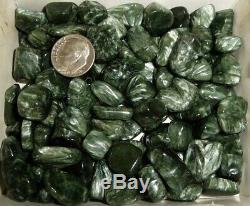 Dino 100 Piece Seraphinite Crystal Polished Chakra Stone Lot, Siberia 8 oz