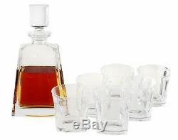 Doctor Hetzner 10 Piece Whiskey Decanter Set Crystal Whiskey Glasses Stones Tray