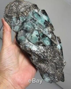 Emerald crystal semi polished statement piece stone prophecy large in matrix