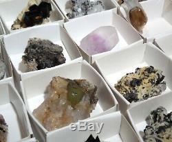 Erongo Mixed Flat Fluorite Topaz Beryl Quartz Black Tourmaline 53 pieces 2.5 lbs