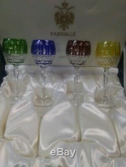 Faberge Xenia Imperial Crystal Wine Glasses Engraved 4 Piece Set NIB