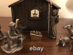 Fort Pewter & 22k Gold Nativity 12 Piece Set WithCrystal Star RARE Find Pre-owned
