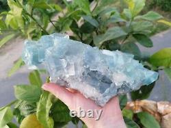 GROSSE PIÈCE 2,1Kg Fluorite bleue et quartz, mine du Burc, Tarn, France