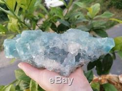 GROSSE PIÈCE 2,1Kg Fluorite et quartz, mine du Burc, Tarn, France