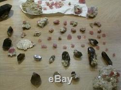 GROS LOT Plus de 60 pièces fluorine rose + quartz fumé Mont Blanc
