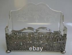 German 4 Piece Desk Set In 800 Fine Silver & Cut/Etched Crystal Classical Design
