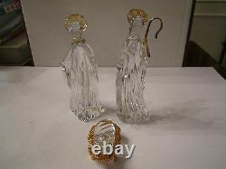 Gorham Nativity Lead Crystal 3 Piece Family In Original Box Mint Condition