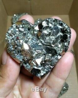 Heart pyrite drusy geode high quality 10 pieces heart pyrite geode minerals Peru