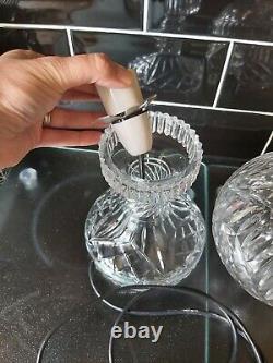 Impressive Vintage Cut Glass Crystal Art Deco 2 Piece Mushroom Globe Table Lamp