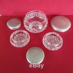 JWB Sterling ART DECO Crystal 3 Piece VANITY SET Powder JAR- Hallmarked 1934