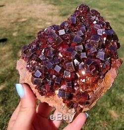 LQQK Vanadinite Cabinet Sized Piece With Lustrous Fire Red Crystals 12.5cms