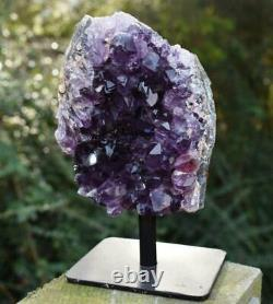 Large Natural Amethyst Cluster Crystal Piece On Stand In Luxury Gift Box
