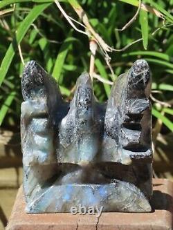 Large Polished Labradorite Dragon Skull Crystal Display Piece Hand Carved