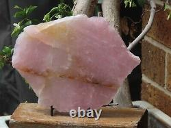 Large Polished Rose Quartz Crystal Display Piece with Stand