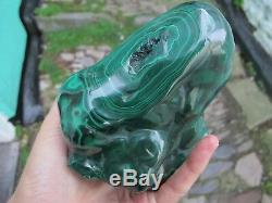 MALACHITE Crystal Large freeform polished Rare seated 1.7 kilos 12 cms tall