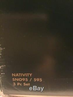 Mikasa CRYSTAL GLASS NATIVITY Tall 3 Piece Christmas Set with Original Box