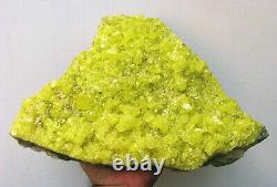 NATIVE SULPHUR BRILLIANT YELLOW CRYSTALS on MATRIX from BOLIVIA. MUSEUM PIECE