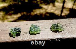 Natural Besednice Moldavite Crystals 3 Piece Lot 3.89g/19.45ct Czech Rep