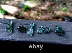 Natural Besednice Moldavite Lot 5 Piece Small Crystals 3.52gr/17.60ct