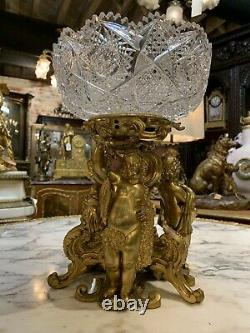 Original Period Gilded Figural Bronze Crystal Center Piece S. Picard 19c