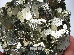 PYRITE SHINING PENTADODECAHEDRAL CRYSTALS from PERU. MASTER PIECE