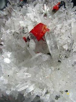 REALGAR CRIMSON RED, PYRITES and FINE QUARTZS CLUSTER from PERU. MASTER PIECE