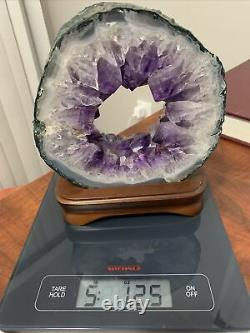 Rare 5lb Amazing large and thick natural amethyst hole piece With A Wood Mantle