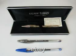 Real Silver Bic Argento 925% Crystal Bic Pen Collectors Piece Bruno Bich Rare