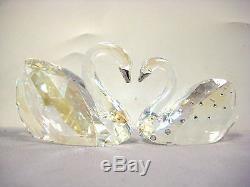 Retired Love Swans 2 Piece Swan Set 2013 Swarovski Crystal Figurines 1143414