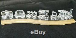 Retired Swarovski Crystal Complete Train Set with Wooden Track 7 pieces