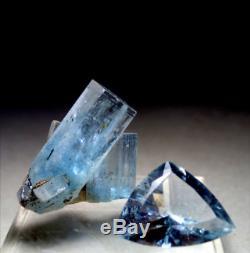 SALE 2 piece GEM AQUAMARINE Cut Jewel & Crystal Erongo 26mm & 20mm GORGEOUS GEMS