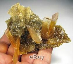 SELENITE GOLDEN CRYSTALS and CUBIC HALITES on MATRIX from PERU. WONDERFUL PIECE