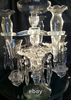 STUNNING VINTAGE CAMBRIDGE GLASS CRYSTAL CANDELABRA 14 14 pieces GORGEOUS