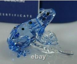 SWAROVSKI SCS BLUE DART FROG ON LEAF 2009 Event Piece MIB #955439 STUNNING