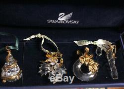 Signed Swarovski Crystal Memories 4 Piece Ornament Set