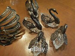Silver Plated & Crystal Swans Condiment Set-8 pieces/Elegant Tableware