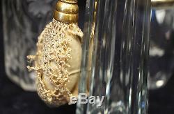 Superb Atomizer 3 Piece Lot Perfume Bottle Set Cut Crystal Glass Art Nouveau 20s