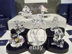 Swarovski 7 Piece Set Bambi Thumper Friend Owl Flower Plaque Display Lithograph