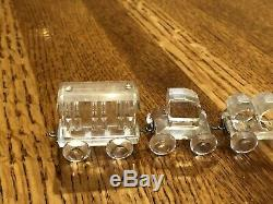 Swarovski Crystal Figurines 4 Piece Train Set Locomotive Petrol Coal Passenger