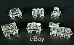Swarovski Silver Crystal Complete Train Set withWooden Track (7 Pieces)