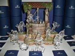 Swarovski Snow White & The Seven Dwarfs 9 Piece Set + Display & Lithograph Bnib