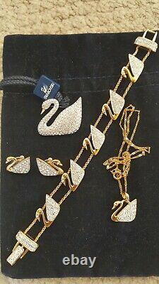 Swarovski Swan Signed Gold Tone Clear Crystal 4 Piece Swan Set BEAUTY
