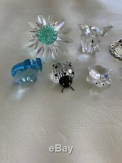 Swarovski crystal figurines lot. 8 Pieces. Flower Elephant Turtle Ladybug Rhino