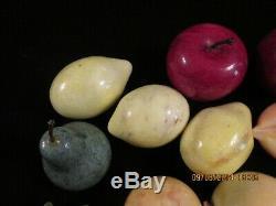 Vintage 21 pieces Alabaster Marble Quartz Stone Fruit 3 eggs apples exceptional
