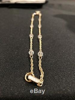 Vintage Austrian Crystal Gold Tone Earrings Bracelet & Necklace 3 Piece Set Tags