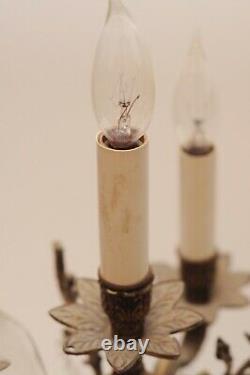 Vintage Candelabra TRIO Girandole Electric Brass & Crystal 3 Piece Antique Set