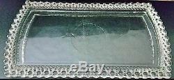 Vintage Clear Crystal Hobnail Vanity Set Tray, trinket box, 2 perfumes 7 pieces